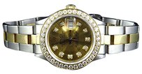 Rolex Ladies Tone Rolex Datejust Oyster Band Mm Diamond Watch 18ksteel Band