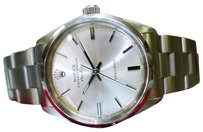 Rolex Mens Rolex Airking Precision 1990 Stainless Steel Ref 5500 Silver Dial Watch