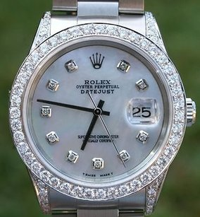 Rolex Rolex Watch Mens Datejust Stainless Steel Lots Of Diamond Dial Bezel Lugs Yr2009