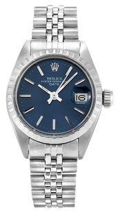 Rolex STAINLESS STEEL DATE BLUE DIAL 26MM LADIES WATCH