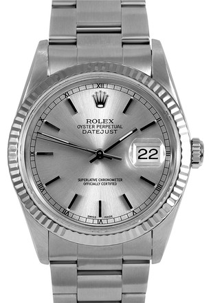 Rolex Stainless Steel Datejust Silver Dial 36mm Men's Watch