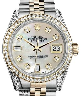 Rolex Stainless Steel-gold 36Mm Datejust Watch White Mop Diamond Dial