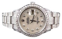 Rolex Mens Rolex Datejust Oyster Stainless Steel Diamond Watch 9.5 Ct