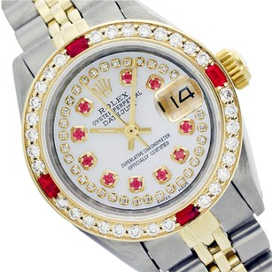 Rolex Ladies ROLEX DATEJUST MOTHER OF PEARL STRING DIAMOND & RUBY WATCH