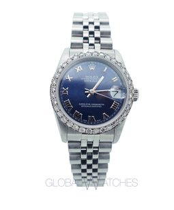Rolex Women's Rolex 31mm Datejust Navy Blue Roman Numeral Face Diamonds