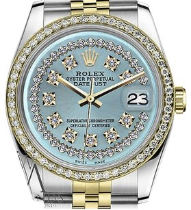 Rolex Womens Rolex 26mm Datejust Tone Ice Blue String Diamond Dial Watch