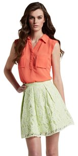 Romeo & Juliet Couture Lace A Line Pleated Neon Bright Mini Skirt Neon Green