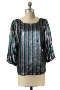 Rory Beca Yale Sequins Top Green brown black