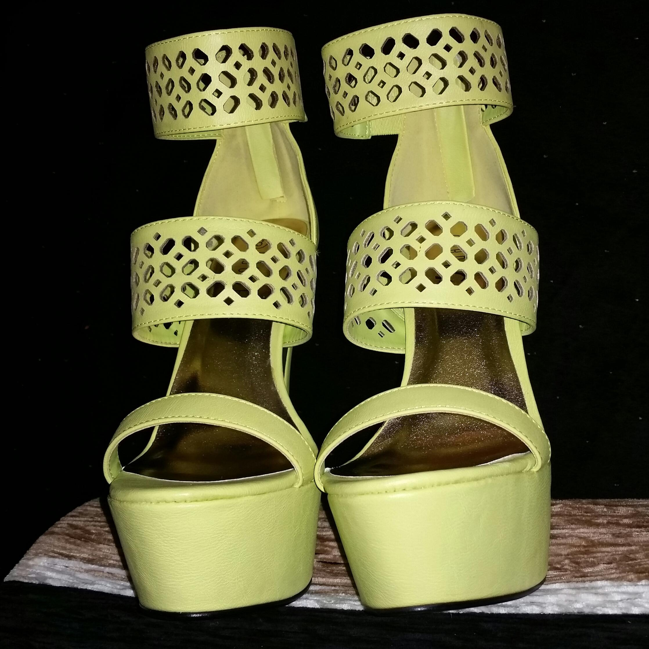 Lime Green Ankle Strap Heels