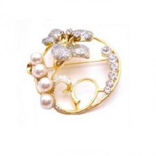 Round Wedding Cake Brooch Gold Brooch Flower & Diamante Stud & Pearls