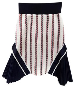 sacai Pencil Boucle Striped Skirt White Navy Blue Red