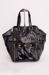 Saint Laurent Yves Patent Leather Downtown Carry All Handbag Tote in Black