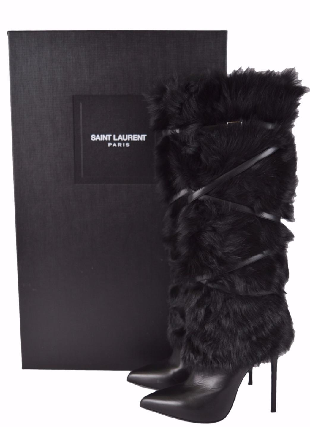 ee7dca8b75e0 ... Saint Laurent Laurent Laurent Black New Ysl Yves Paris 110 495 Fur Belt  Stiletto 36.5 Boots ...