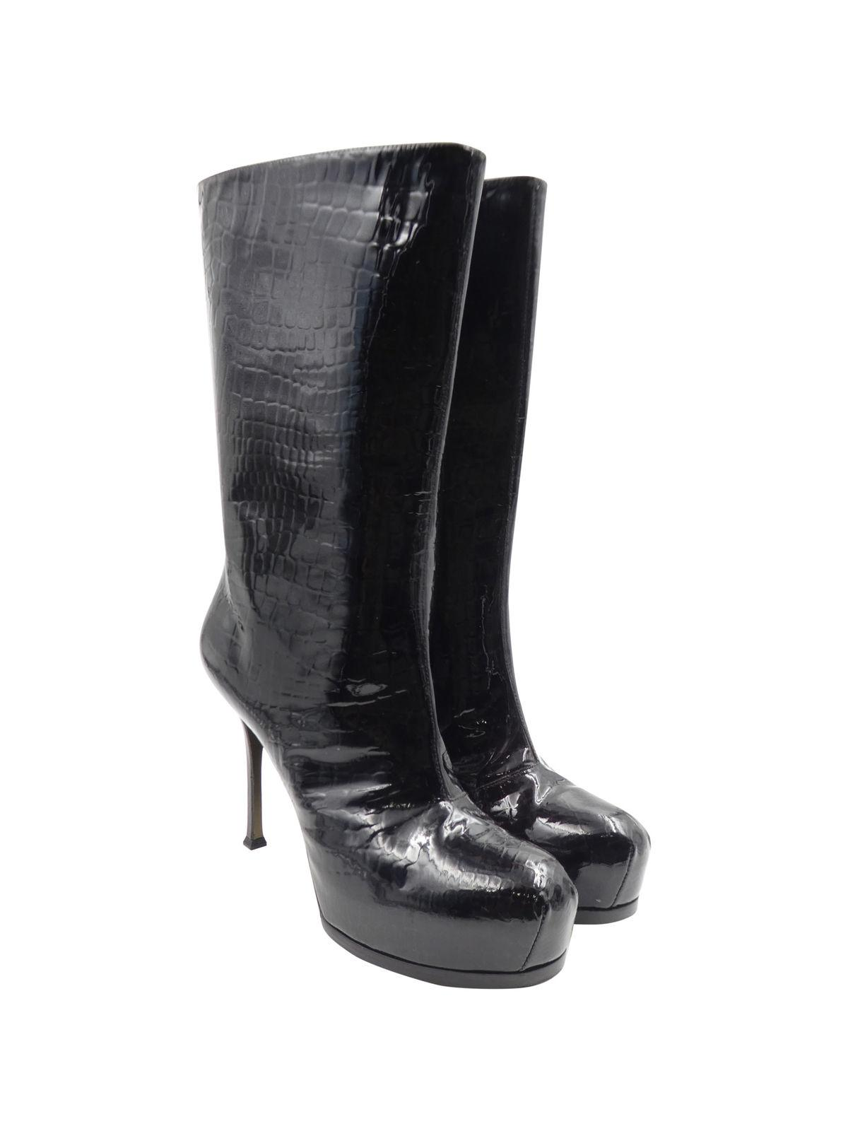 Yves Saint Laurent Embossed Platform Boots