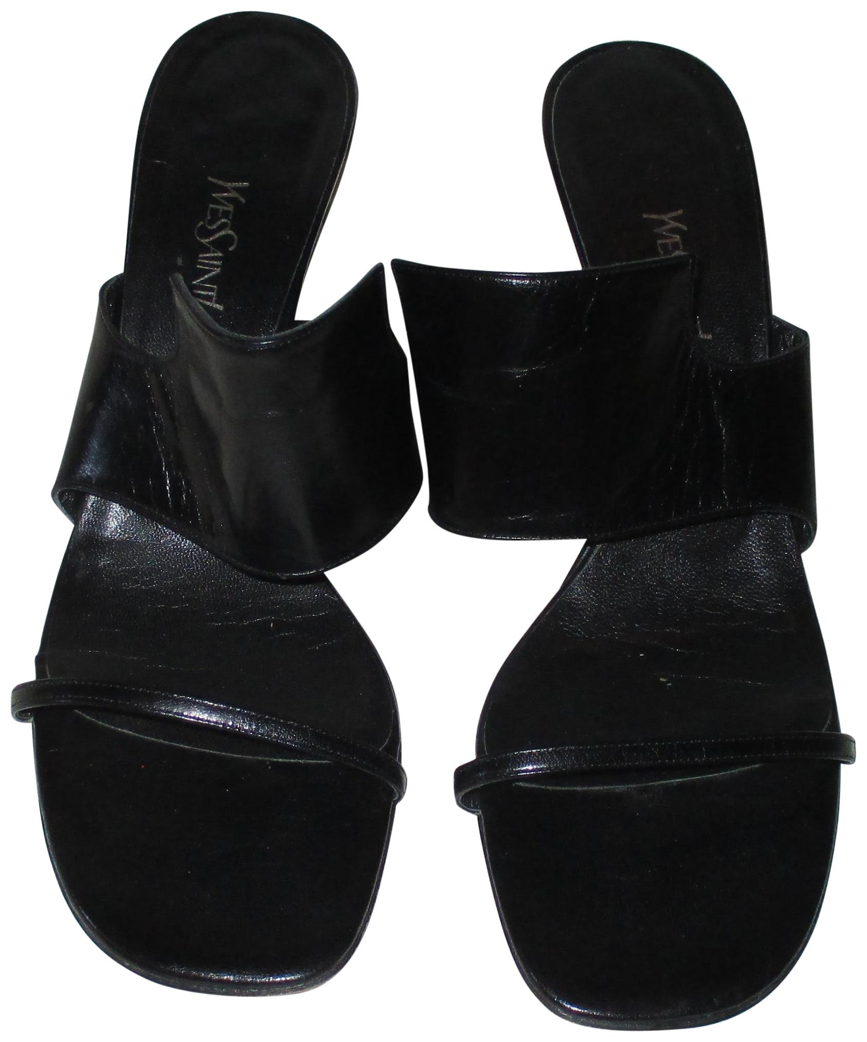 Saint Laurent Black Yves Ysl Leather Open Toe High High High Heels Sandals Size US 9.5 Regular (M, B) 58997c
