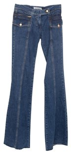 Saint Laurent Ysl Blue Wide Raw Edge Embroidered Denim 840m Flare Leg Jeans