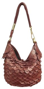 Saint Laurent Yves Vintage Leather Scallop Accented Handbag B3560 Hobo Bag