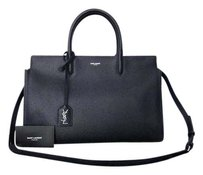 Saint Laurent Italian Leather Luxury Satchel in Navy