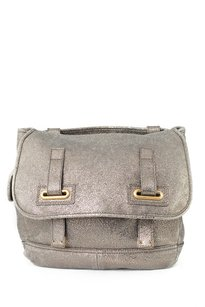 Saint Laurent Leather Purse Printed Leather Satchel in Pewter