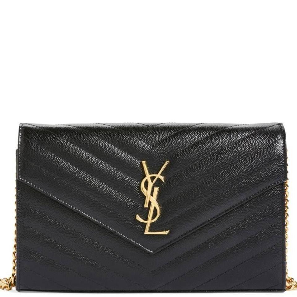 Saint Laurent Black Quilted Leather Chain Wallet Cross Body Bag ... : black quilted chain bag - Adamdwight.com