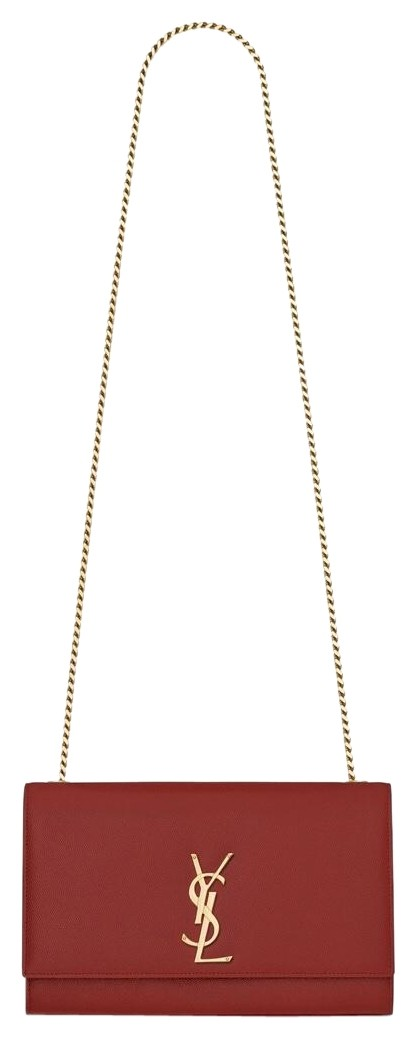 Monogram Kate Medium Chain In Textured Leather Red Shoulder Bag by Saint Laurent
