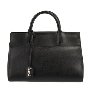 Saint Laurent Pebbled Leather Signature Paris Tote in Black Grained