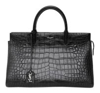 Saint Laurent Cabas Rive Crocodile Embossed Leather Handbag Satchel in Black