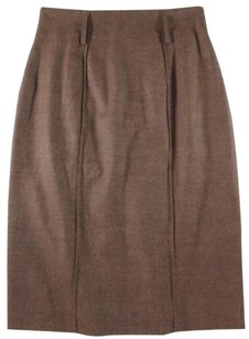 Saint Laurent Straight Pencil Skirt Brown