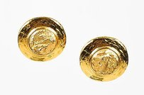 Saint Laurent Vintage Yves Saint Laurent Gold Tone Hammered Rock Clip On Button Earrings