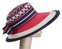 Saint Laurent YSL VINTAGE SUN DERBY HAT IN RASPBERRY AND NAVY