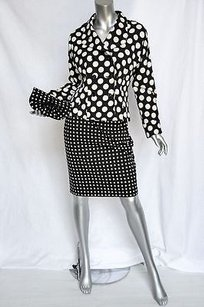 Saint Laurent Yves Saint Laurent Blackwhite Polka Dot Skirt Suitjacketclutch 3-pc Set M38