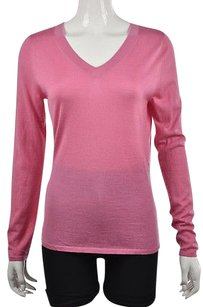 Saks Fifth Avenue Womens V Neck Cashmere Long Sleeve Sweater