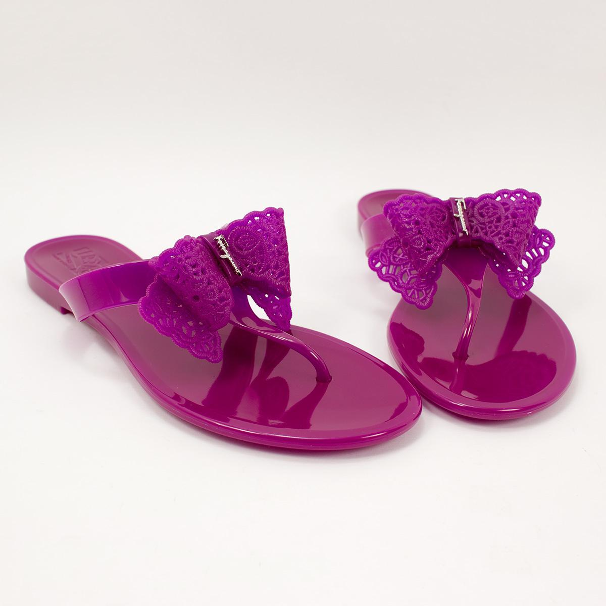 Salvatore Ferragamo Pandy Jelly Thong Flip Flop Grape ...