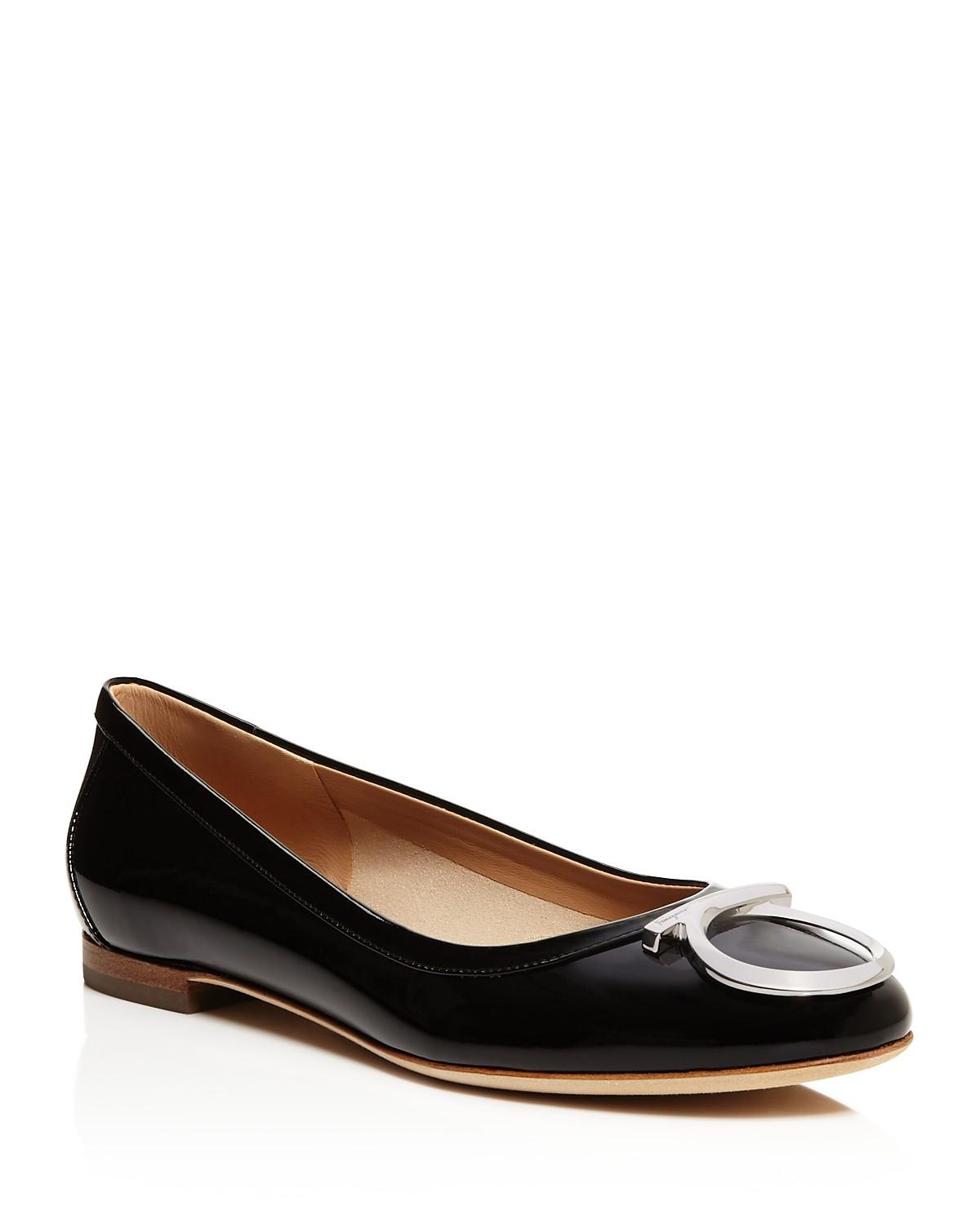 cheap sale best prices Salvatore Ferragamo Gancini Round-Toe Flats with mastercard sale online discount amazing price cost for sale discount exclusive Pv40Y