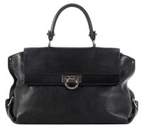Salvatore Ferragamo Black Slouchy Flap Satchel