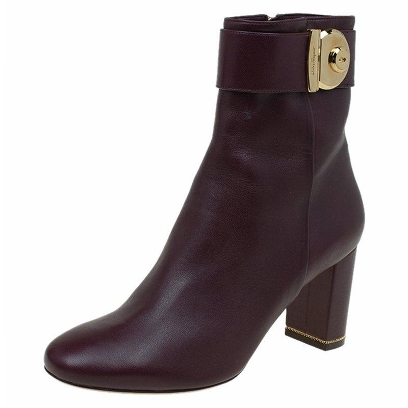 58159eb0bbb4 Salvatore Ferragamo Burgundy Leather Fiamma Ankle Ankle Ankle Boots Booties  Size EU 39.5 (Approx
