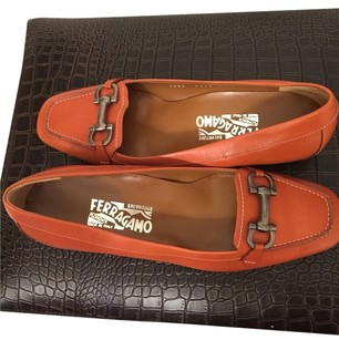 Salvatore Ferragamo Coral Orange Flats