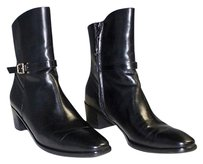 Salvatore Ferragamo Shiny Leather Crissy Zip Ankle Aa Black Boots