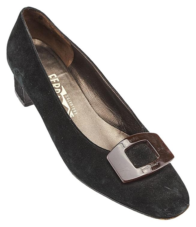 salvatore ferragamo suede heel size 9 54649 black formal