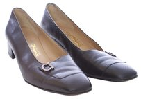 Salvatore Ferragamo Leather Vintage Silver Hardware Square Toe Black Flats