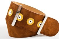 Salvatore Ferragamo Salvatore Ferragamo Brown Suede Leather Circle Trim Oversized Buckle Belt
