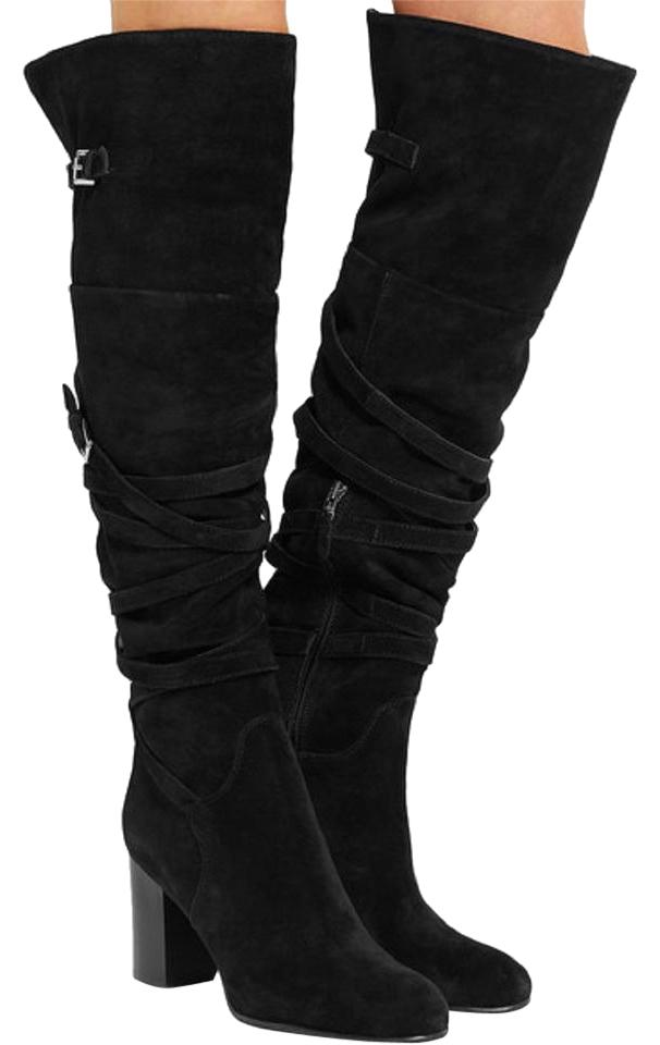 Sam Edelman Suede Leather Wrap Over The Knee Black Boots ...