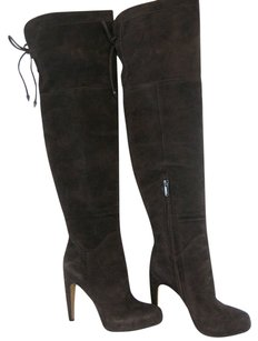 Sam Edelman Kayla Over The Knee Lace Up Expresso Bean Suede Brown Boots