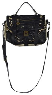 Sam Edelman Womens Black Animal Print Handbag Shoulder Bag