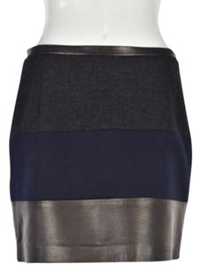 Sandro Womens Color Block Pencil Above Knee Wool Blend Skirt Navy