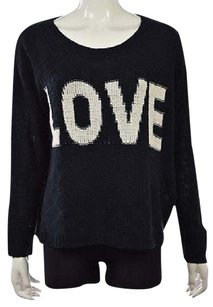 Sans Souci Womens Navy Blue Crewneck Love Long Sleeve Shirt Sweater
