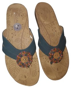 Sbicca Aqua Blue Beaded Man-made Material Teal Sandals