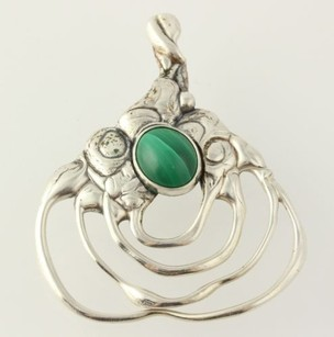 Scottevest Chunky Abstract Pendant - Sterling Silver 925 Malachite Green Stone Signed