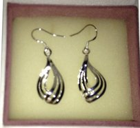 Sears Sterling Silver Signed 925, 1.5 Dangle double silver Earrings. 2.6 gms