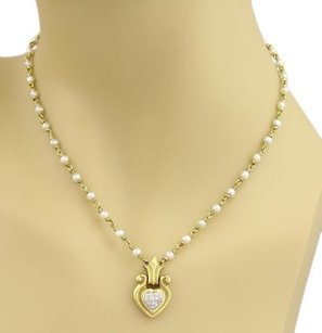 Seidengang Seidengang Diamond Pearls Heart Pendant Fancy Necklace